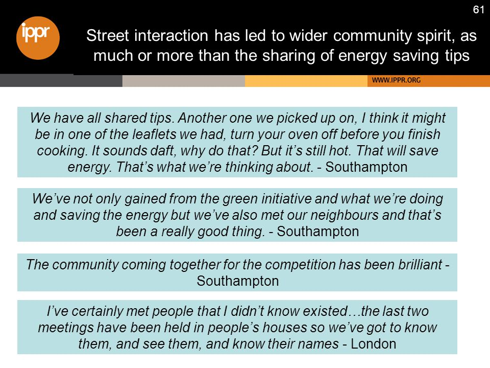 61 Street interaction has led to wider community spirit, as much or more than the sharing of energy saving tips The community coming together for the competition has been brilliant - Southampton We've not only gained from the green initiative and what we're doing and saving the energy but we've also met our neighbours and that's been a really good thing.