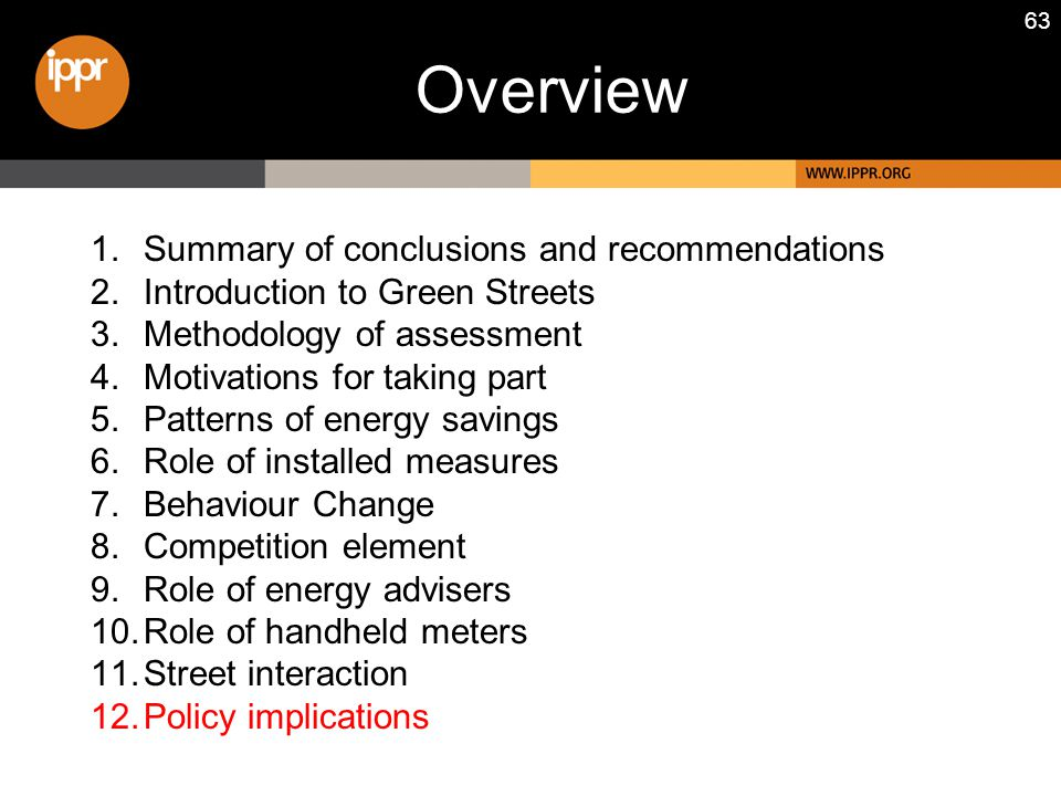 63 1.Summary of conclusions and recommendations 2.Introduction to Green Streets 3.Methodology of assessment 4.Motivations for taking part 5.Patterns of energy savings 6.Role of installed measures 7.Behaviour Change 8.Competition element 9.Role of energy advisers 10.Role of handheld meters 11.Street interaction 12.Policy implications Overview