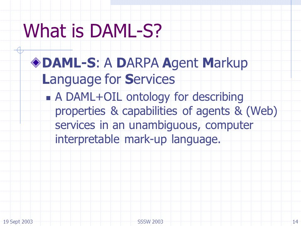 19 Sept 2003SSSW 200314 What is DAML-S? DAML-S: A DARPA Agent Markup Language for Services A DAML+OIL ontology for describing properties & capabilitie