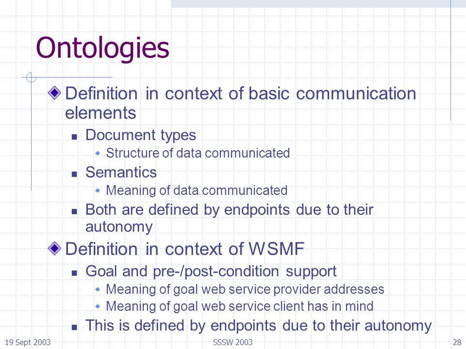 19 Sept 2003SSSW 200328 Ontologies Definition in context of basic communication elements Document types  Structure of data communicated Semantics  M