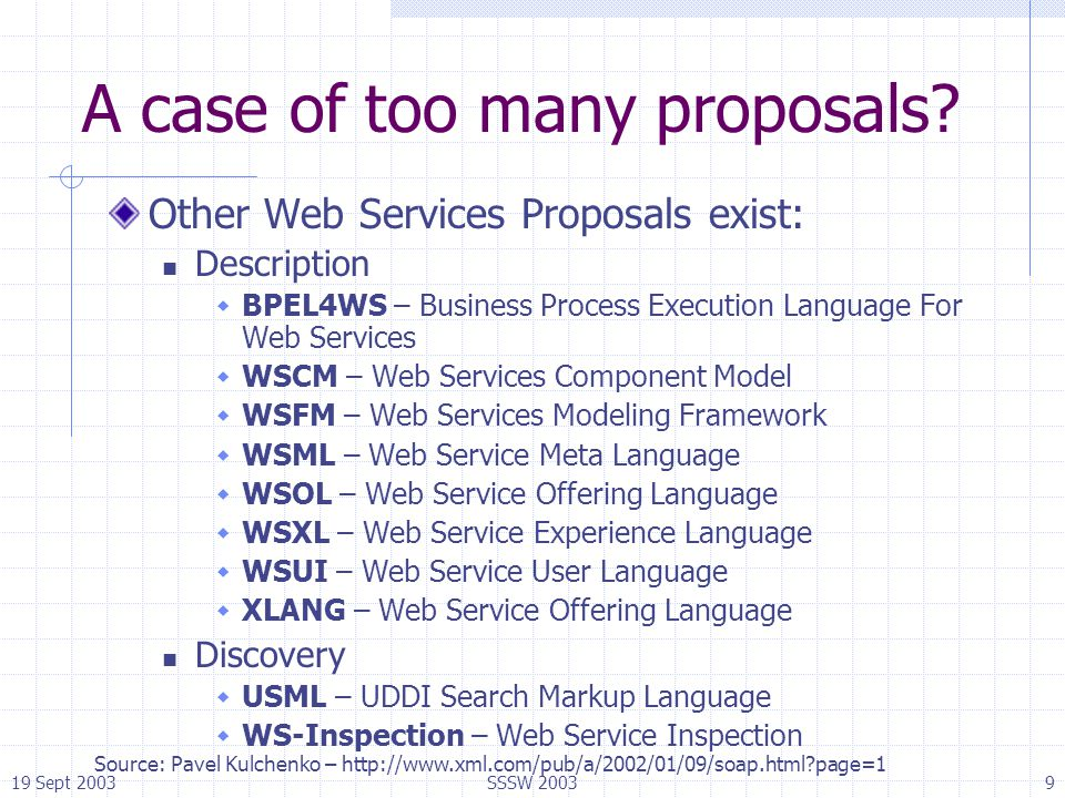 19 Sept 2003SSSW 20039 A case of too many proposals? Other Web Services Proposals exist: Description  BPEL4WS – Business Process Execution Language F