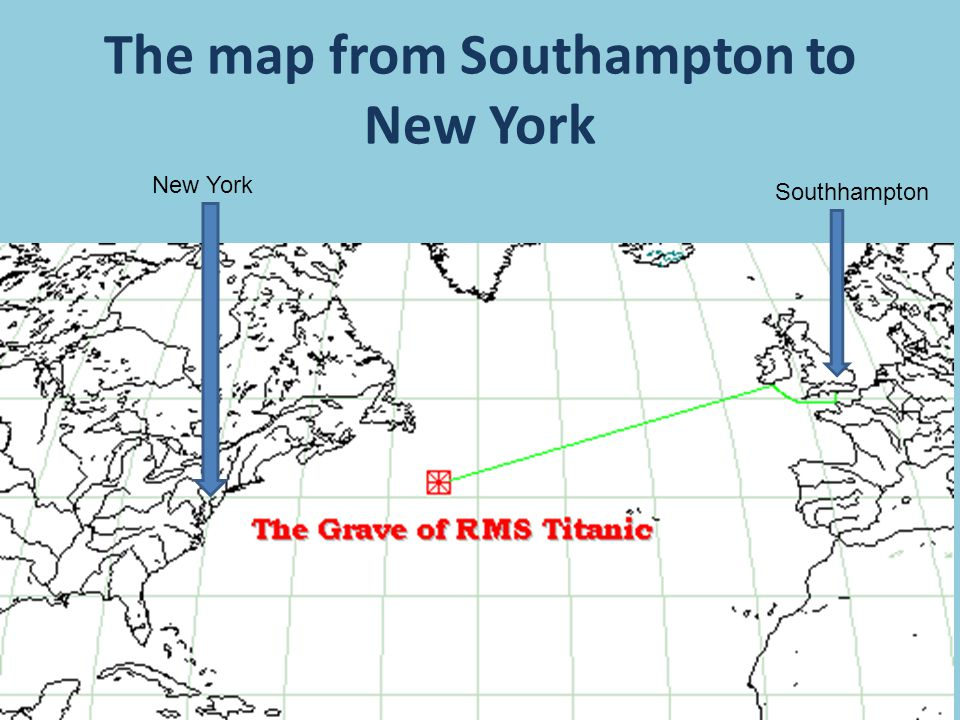 The map from Southampton to New York Southhampton New York