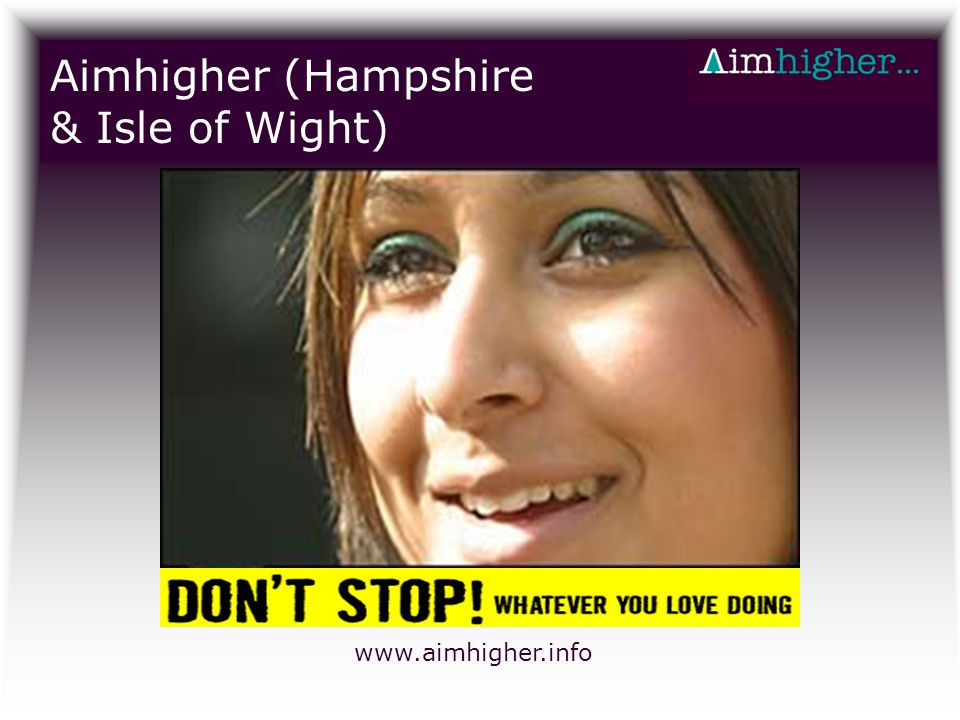 Aimhigher (Hampshire & Isle of Wight) www.aimhigher.info