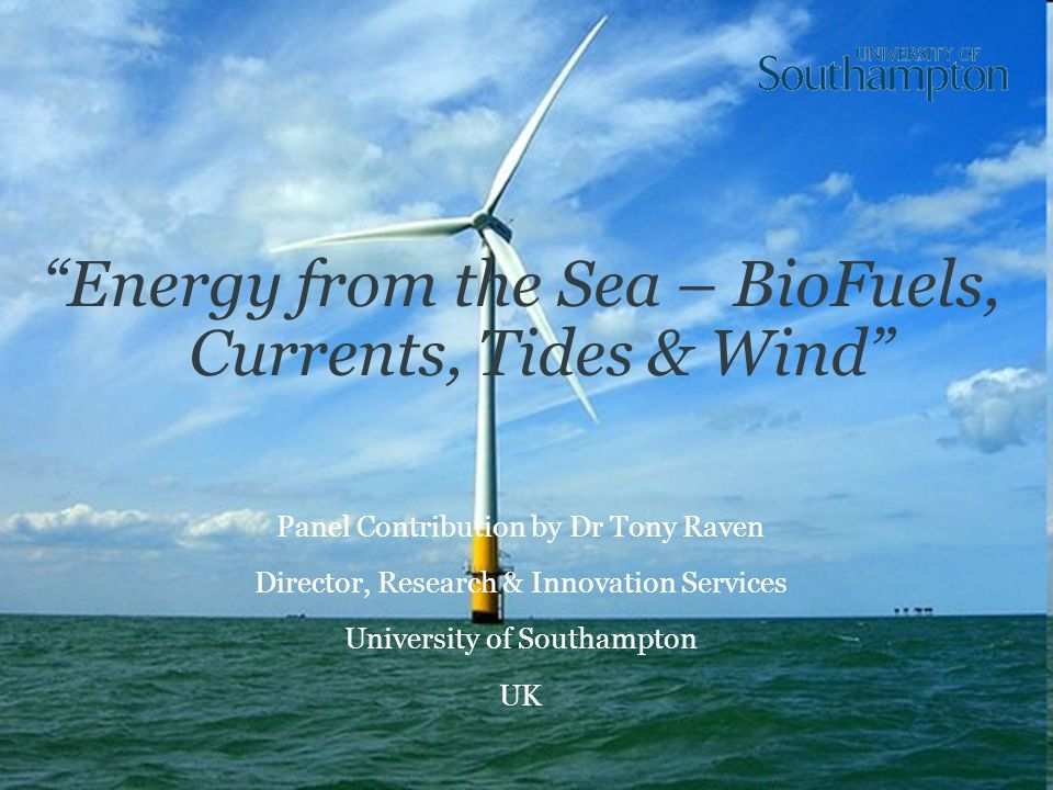 Energy from the Sea – BioFuels, Currents, Tides & Wind Panel Contribution by Dr Tony Raven Director, Research & Innovation Services University of Southampton UK