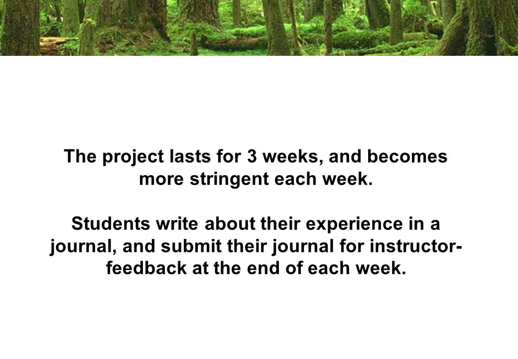 The project lasts for 3 weeks, and becomes more stringent each week.