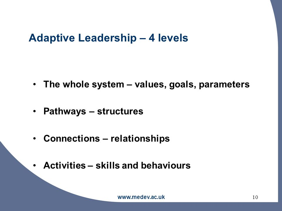 www.medev.ac.uk10 Adaptive Leadership – 4 levels The whole system – values, goals, parameters Pathways – structures Connections – relationships Activities – skills and behaviours