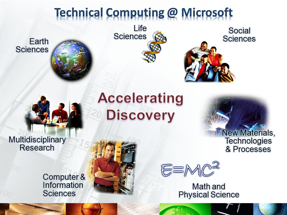 Advancement of Science Global Collaboration Technology Excellence Interoperability Putting computing into science… Applying Microsoft products and research technologies to advance the scientific research and engineering innovation process Putting science into computing… Investing in potentially breakthrough computer science research to address the Multicore challenges facing the IT industry