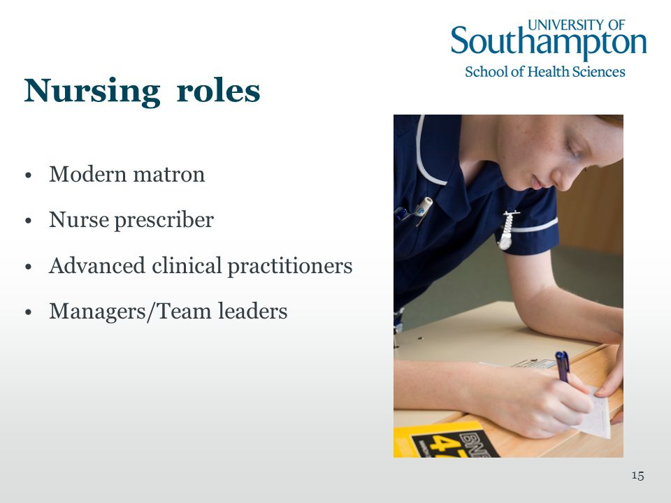 15 Nursing roles Modern matron Nurse prescriber Advanced clinical practitioners Managers/Team leaders