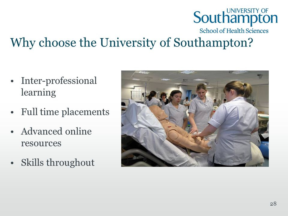 28 Why choose the University of Southampton.