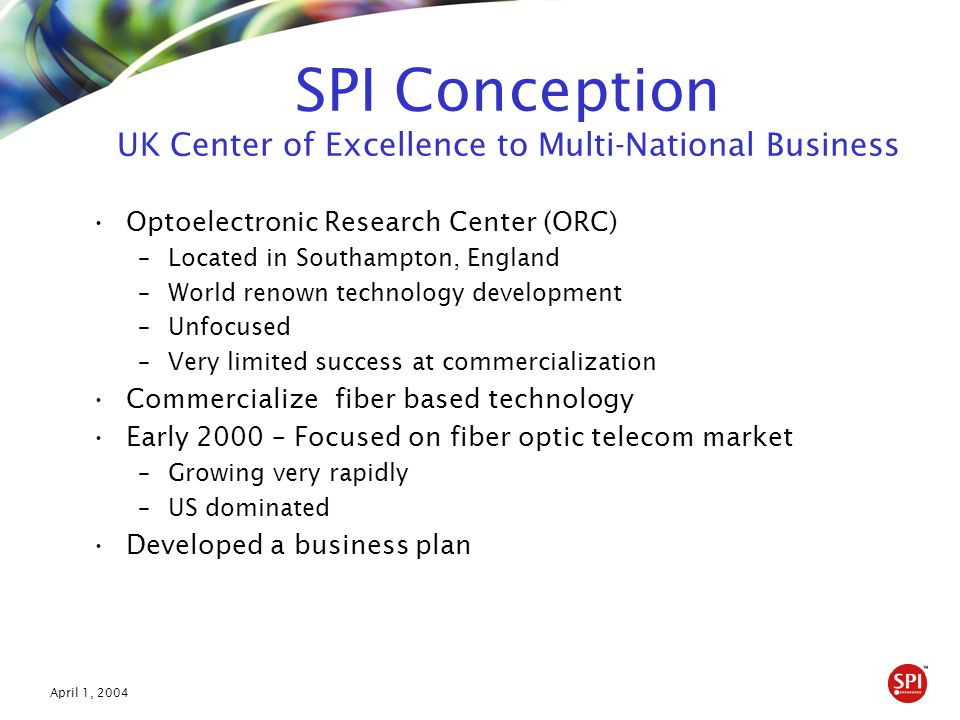 April 1, 2004 SPI Conception UK Center of Excellence to Multi-National Business Optoelectronic Research Center (ORC) –Located in Southampton, England