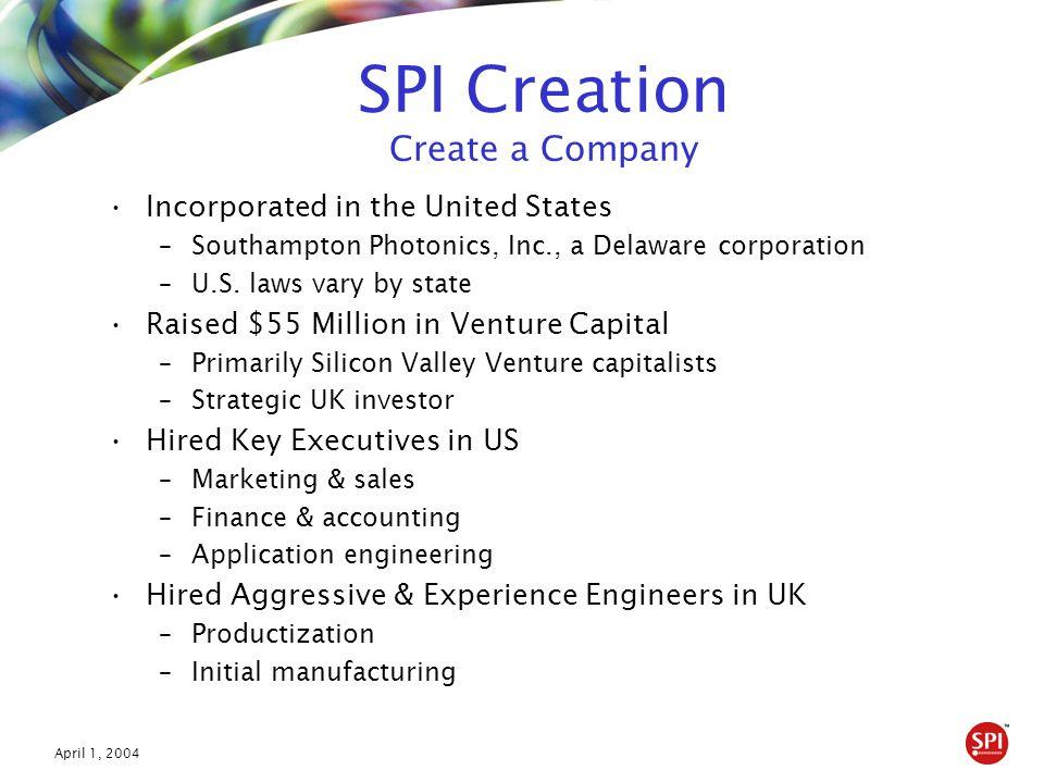 April 1, 2004 SPI Goes to Market Focused on Largest & Most Influential U.S.