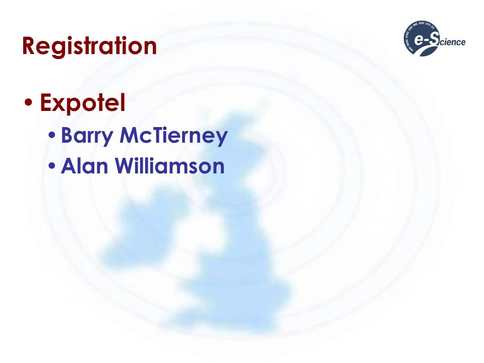Registration Expotel Barry McTierney Alan Williamson