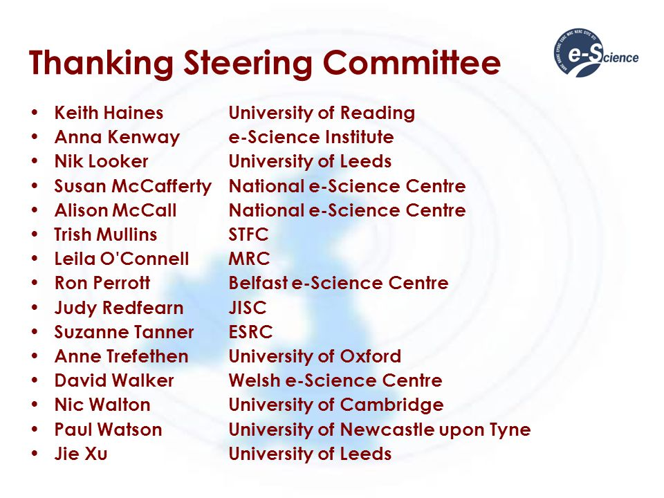 Thanking Programme Committee Robert AllanSTFC Daresbury Malcolm Atkinsone-Science Institute Jim AustinUniversity of York Adam BarkerNational e-Science Centre William J BlackUniversity of Manchester Jon BlowerUniversity of Reading Ken BrodlieUniversity of Leeds Annamaria CarusiUniversity of Oxford Kai ChengBrunel University Neil Chue HongEPCC, University of Edinburgh Geoff CoulsonLancaster University Simon CoxUniversity of Southampton