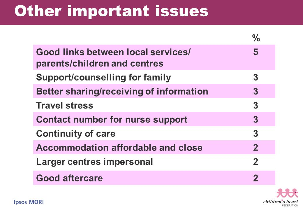 Other important issues % Good links between local services/ parents/children and centres 5 Support/counselling for family3 Better sharing/receiving of