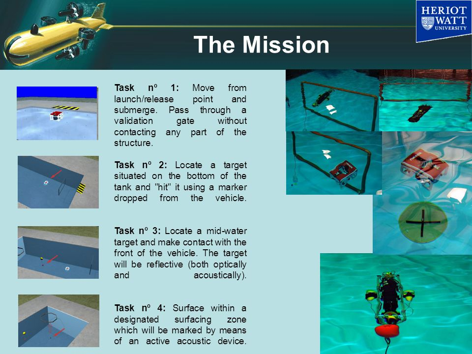 The Mission Task nº 1: Move from launch/release point and submerge.