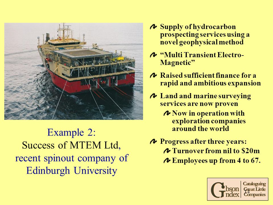 14 Example 2: Success of MTEM Ltd, recent spinout company of Edinburgh University Supply of hydrocarbon prospecting services using a novel geophysical method Multi Transient Electro- Magnetic Raised sufficient finance for a rapid and ambitious expansion Land and marine surveying services are now proven Now in operation with exploration companies around the world Progress after three years: Turnover from nil to $20m Employees up from 4 to 67.