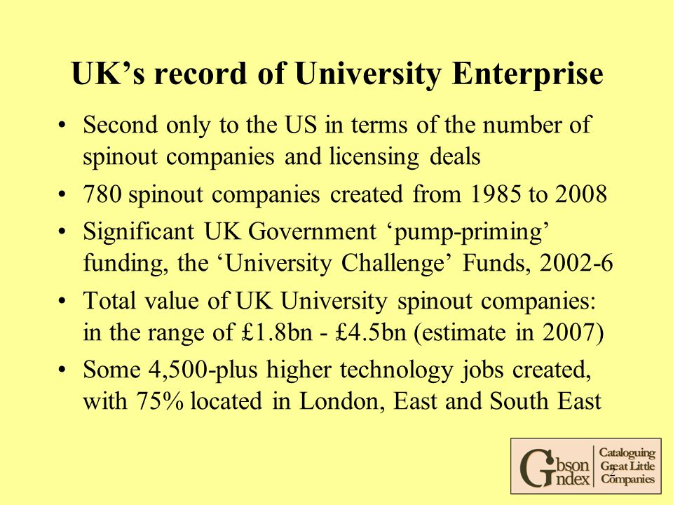 2 UK's record of University Enterprise Second only to the US in terms of the number of spinout companies and licensing deals 780 spinout companies cre