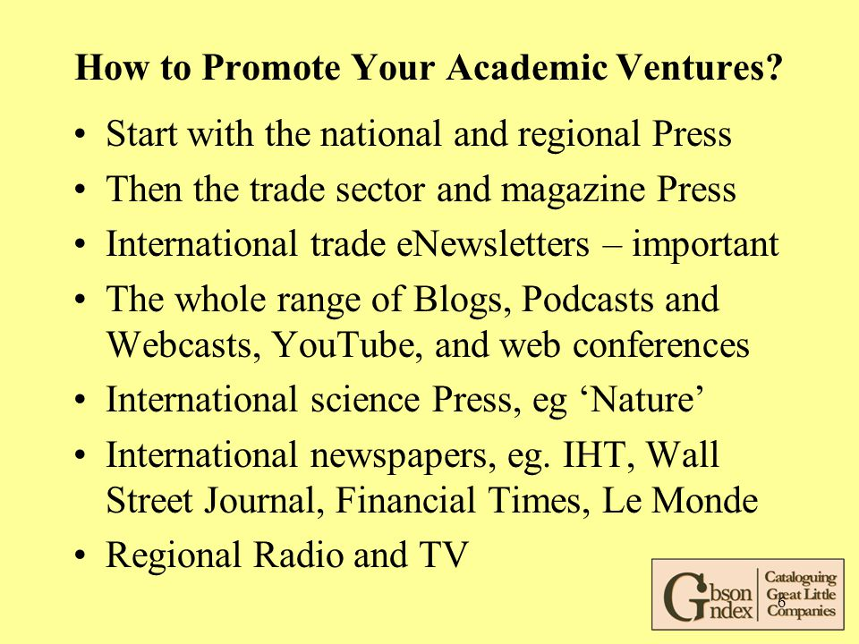 6 How to Promote Your Academic Ventures.