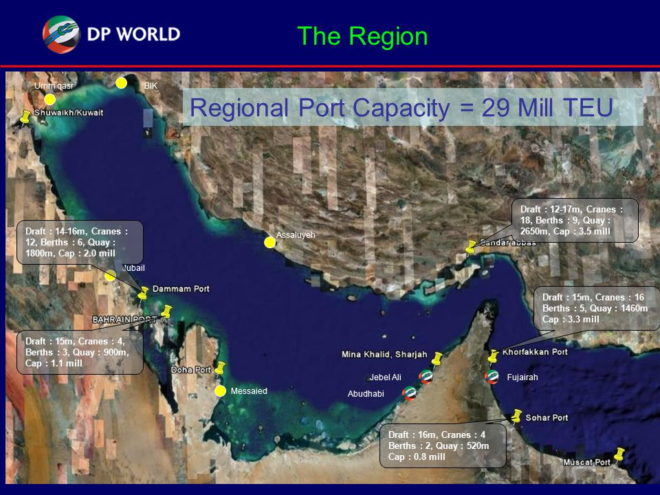 The Region Assaluyeh BIKUmm qasr Jubail Abudhabi Jebel AliFujairah Messaied Draft : 12-17m, Cranes : 18, Berths : 9, Quay : 2650m, Cap : 3.5 mill Draft : 15m, Cranes : 16 Berths : 5, Quay : 1460m Cap : 3.3 mill Draft : 14-16m, Cranes : 12, Berths : 6, Quay : 1800m, Cap : 2.0 mill Draft : 15m, Cranes : 4, Berths : 3, Quay : 900m, Cap : 1.1 mill Regional Port Capacity = 29 Mill TEU Draft : 16m, Cranes : 4 Berths : 2, Quay : 520m Cap : 0.8 mill
