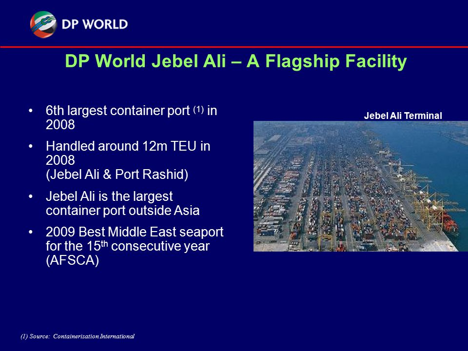 DP World Jebel Ali – A Flagship Facility 6th largest container port (1) in 2008 Handled around 12m TEU in 2008 (Jebel Ali & Port Rashid) Jebel Ali is the largest container port outside Asia 2009 Best Middle East seaport for the 15 th consecutive year (AFSCA) Jebel Ali Terminal (1) Source: Containerisation International