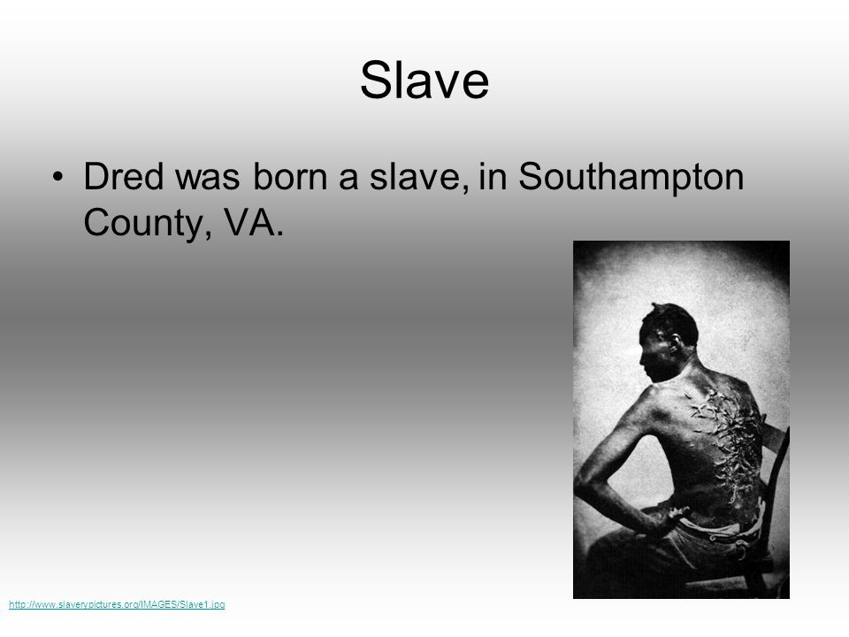 Slave Dred was born a slave, in Southampton County, VA. http://www.slaverypictures.org/IMAGES/Slave1.jpg