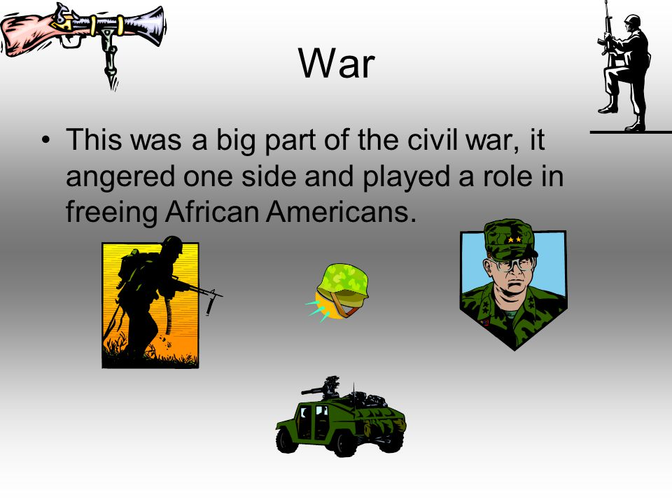 War This was a big part of the civil war, it angered one side and played a role in freeing African Americans.