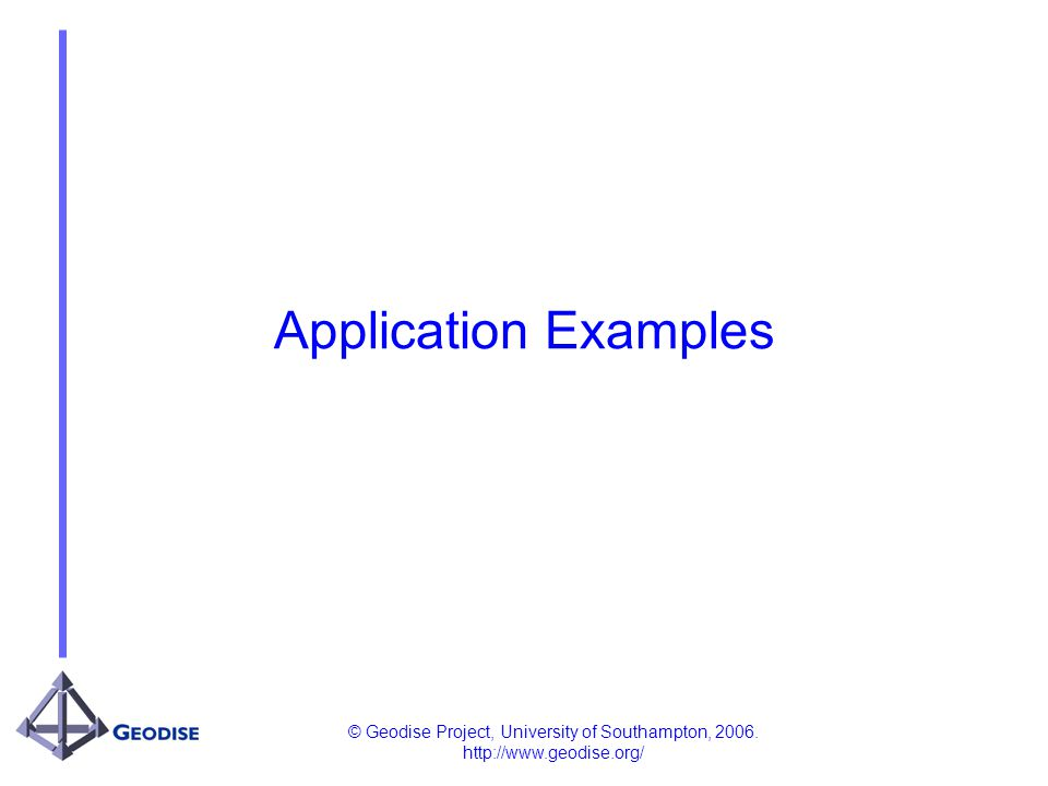 © Geodise Project, University of Southampton, 2006. http://www.geodise.org/ Application Examples