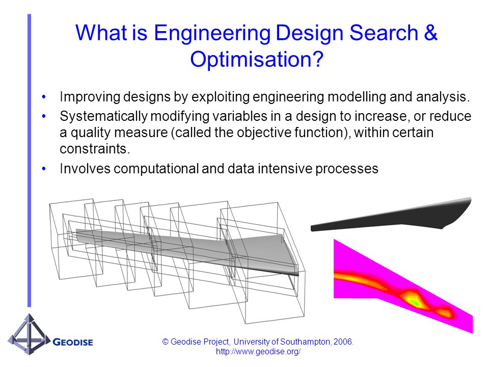 © Geodise Project, University of Southampton, 2006. http://www.geodise.org/ What is Engineering Design Search & Optimisation? Improving designs by exp