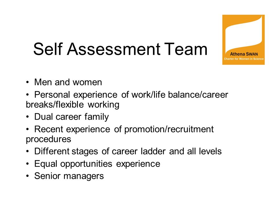 Self Assessment Team Men and women Personal experience of work/life balance/career breaks/flexible working Dual career family Recent experience of pro