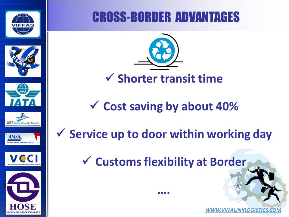 CROSS-BORDER ADVANTAGES WWW.VINALINKLOGISTICS.COM Shorter transit time Cost saving by about 40% Service up to door within working day Customs flexibility at Border ….
