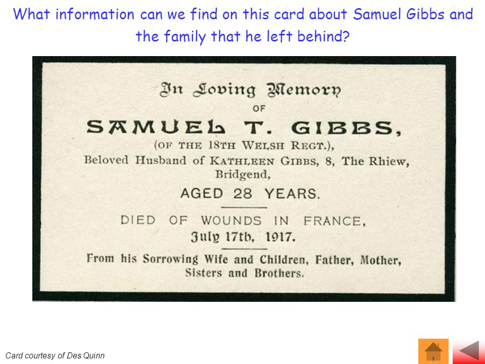 What information can we find on this card about Samuel Gibbs and the family that he left behind.