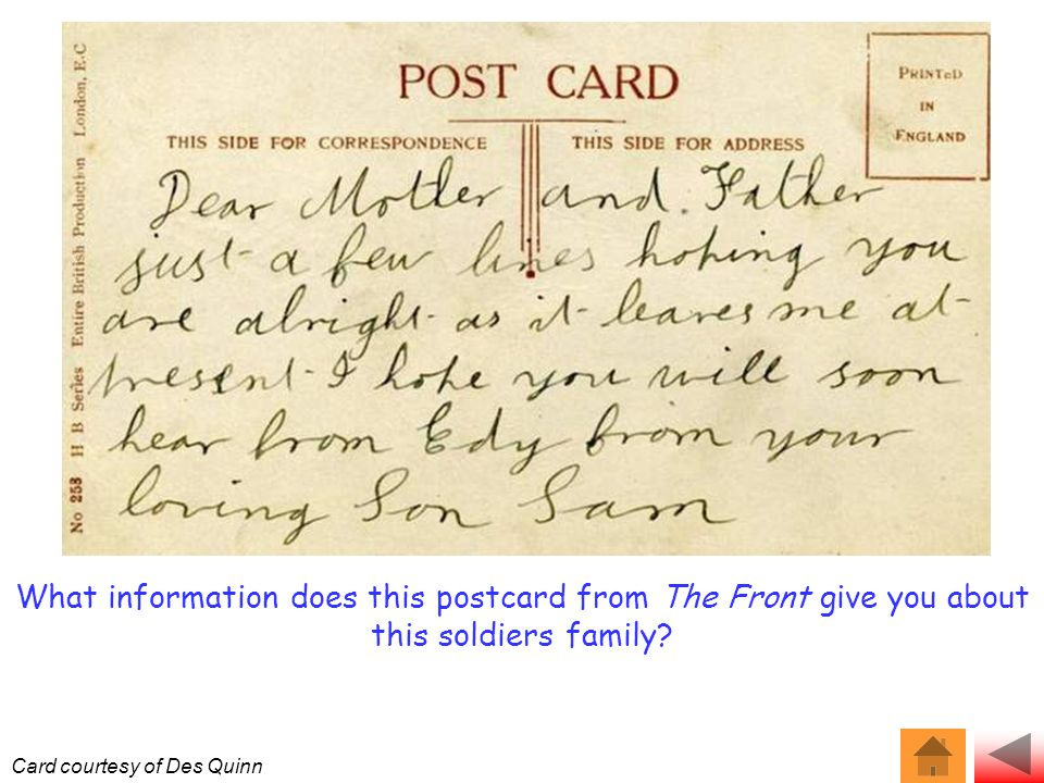What information does this postcard from The Front give you about this soldiers family.