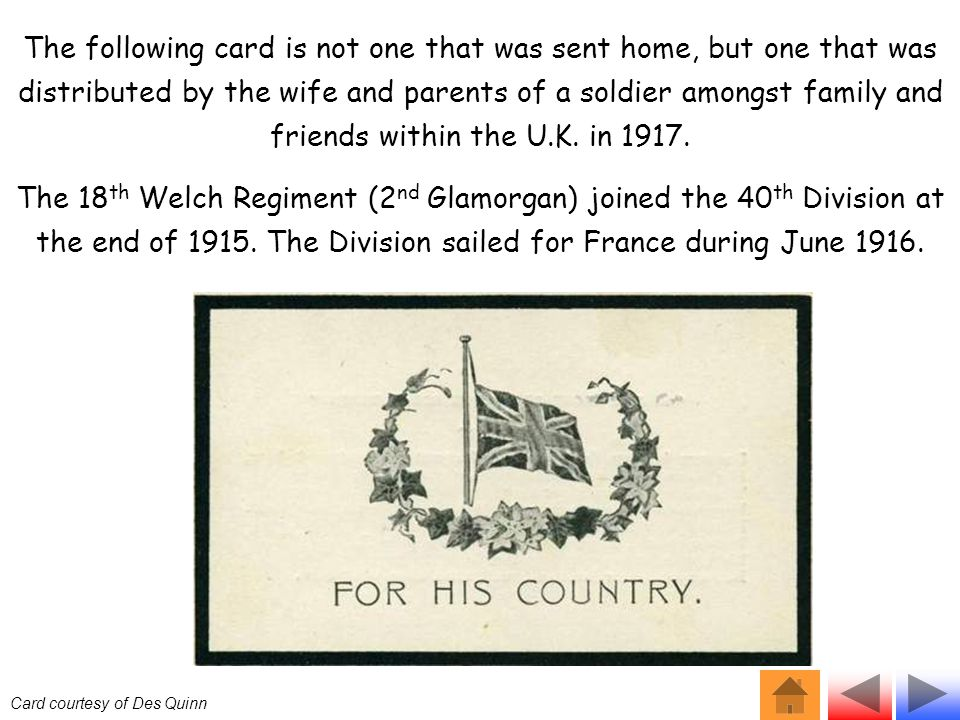 The following card is not one that was sent home, but one that was distributed by the wife and parents of a soldier amongst family and friends within the U.K.
