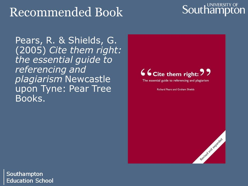 Southampton Education School Southampton Education School Recommended Book Pears, R.