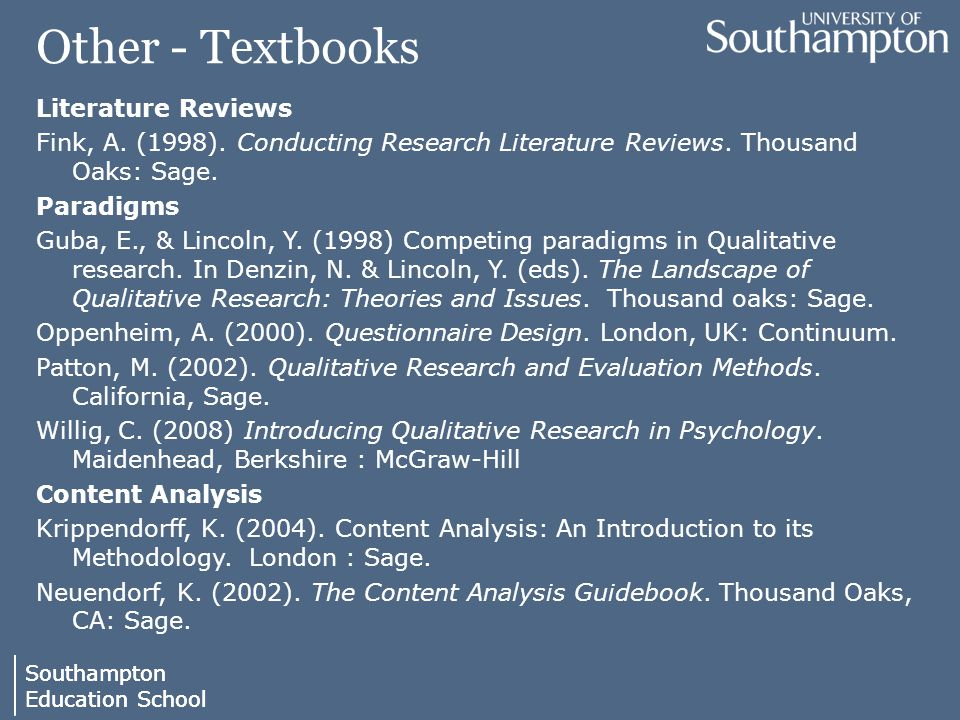Southampton Education School Southampton Education School Other - Textbooks Literature Reviews Fink, A.