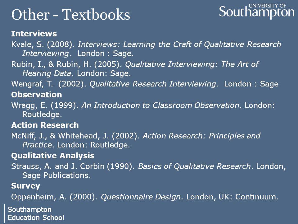 Southampton Education School Southampton Education School Other - Textbooks Interviews Kvale, S.