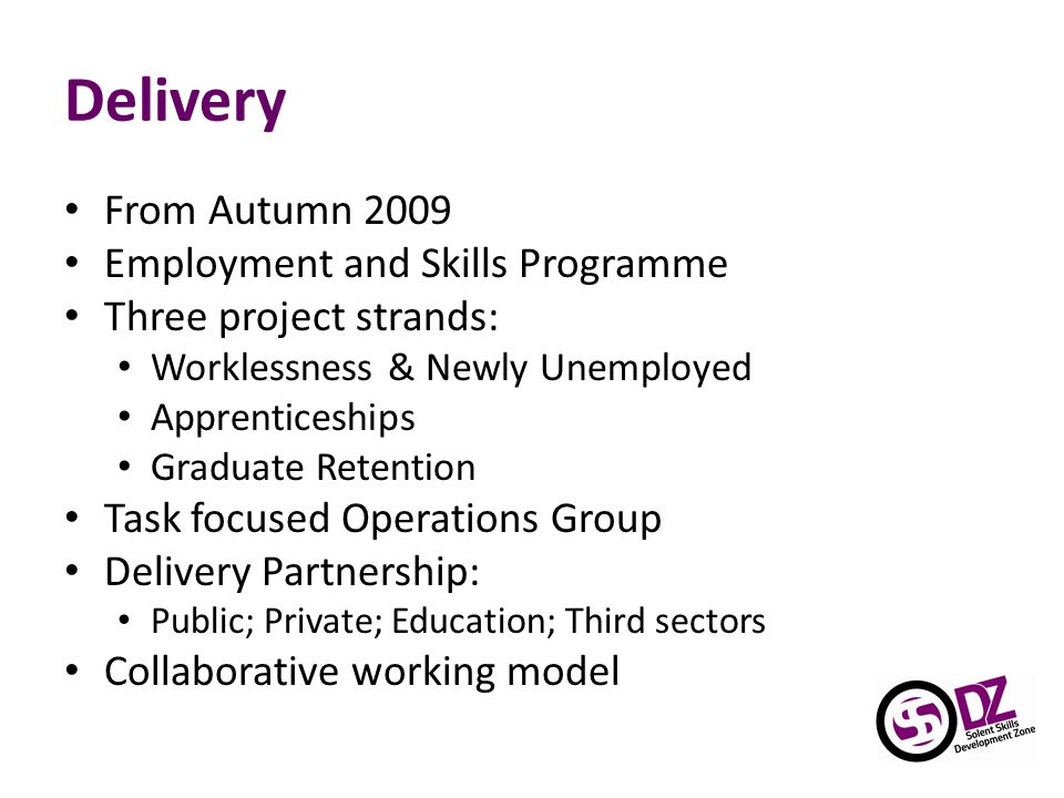 Delivery From Autumn 2009 Employment and Skills Programme Three project strands: Worklessness & Newly Unemployed Apprenticeships Graduate Retention Task focused Operations Group Delivery Partnership: Public; Private; Education; Third sectors Collaborative working model