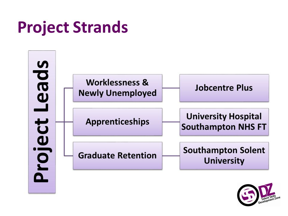 Project Strands Project Leads Worklessness & Newly Unemployed Jobcentre Plus Apprenticeships University Hospital Southampton NHS FT Graduate Retention Southampton Solent University