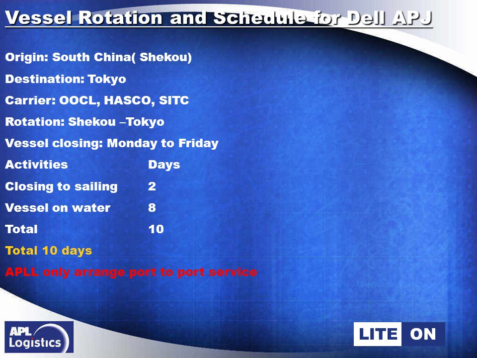 LITEON Vessel Rotation and Schedule for Dell APJ Origin: South China( Shekou) Destination: Tokyo Carrier: OOCL, HASCO, SITC Rotation: Shekou –Tokyo Vessel closing: Monday to Friday ActivitiesDays Closing to sailing2 Vessel on water8 Total 10 Total 10 days APLL only arrange port to port service