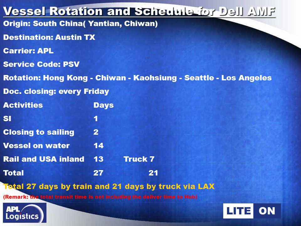 LITEON Vessel Rotation and Schedule for Dell AMF Origin: South China( Yantian, Chiwan) Destination: Austin TX Carrier: APL Service Code: PSV Rotation: Hong Kong - Chiwan - Kaohsiung - Seattle - Los Angeles Doc.
