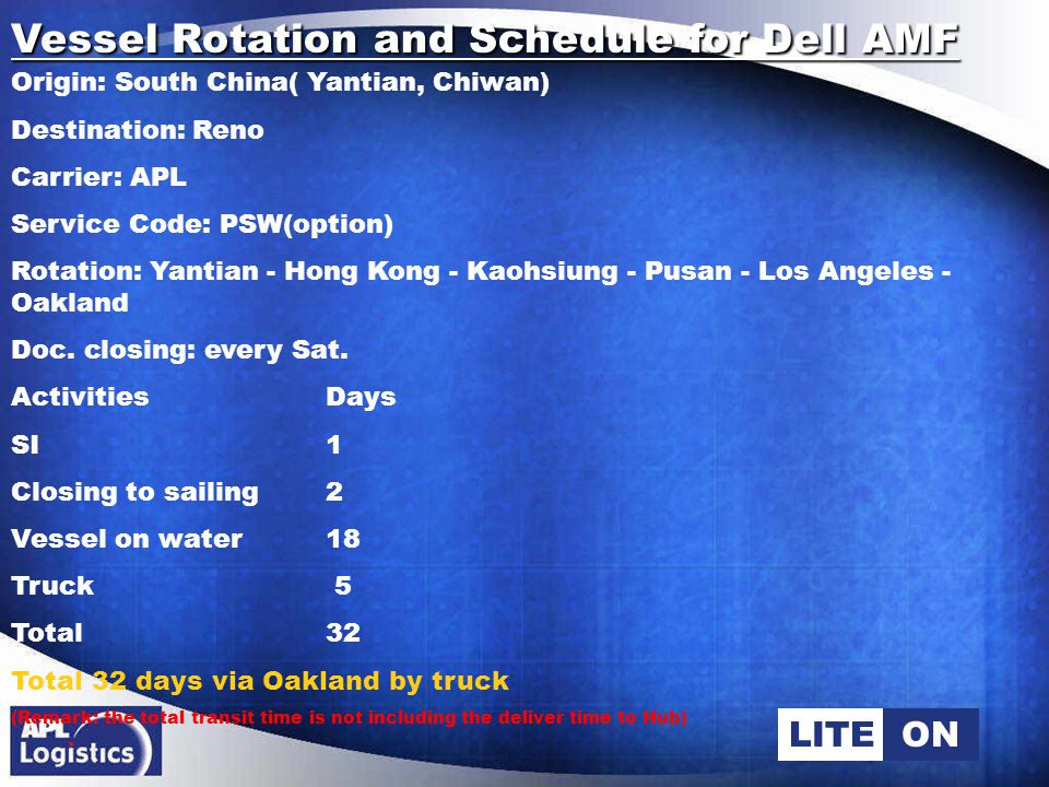 LITEON Vessel Rotation and Schedule for Dell EMF Origin: South China( Yantian, Chiwan) Destination: Covnetry Carrier: APL Service Code: CEX Rotation :Shanghai - Xiamen - Yantian - Hong Kong - Singapore - Colombo - Southampton - Antwerp - Bremerhaven Vessel closing: Sunday ActivitiesDays Closing to sailing2 Vessel on water24 Inland 4 Total 30 Total 30 days via Southampton (Remark: the total transit time is not including the deliver time to Hub)