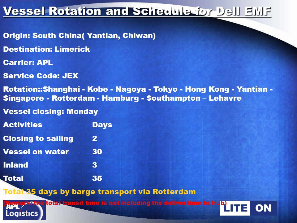 LITEON Vessel Rotation and Schedule for Dell EMF Origin: South China( Yantian, Chiwan) Destination: Tilburg Carrier: APL Service Code: JEX Rotation :Shanghai - Kobe - Nagoya - Tokyo - Hong Kong - Yantian - Singapore - Rotterdam - Hamburg - Southampton – Lehavre Vessel closing: Monday ActivitiesDays Closing to sailing2 Vessel on water22 Inland 3 Total 27 Total 30 days via Rotterdam (Remark: the total transit time is not including the deliver time to Hub)