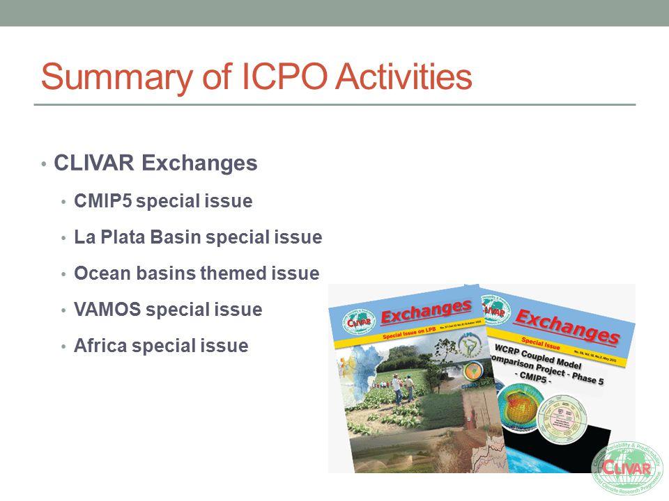 Summary of ICPO Activities CLIVAR Exchanges CMIP5 special issue La Plata Basin special issue Ocean basins themed issue VAMOS special issue Africa spec