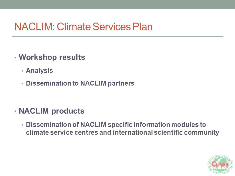 NACLIM: Climate Services Plan Workshop results Analysis Dissemination to NACLIM partners NACLIM products Dissemination of NACLIM specific information
