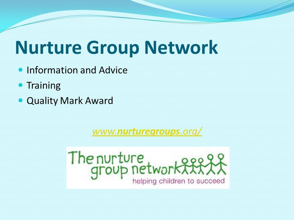 Nurture Group Network Information and Advice Training Quality Mark Award www.nurturegroups.org/