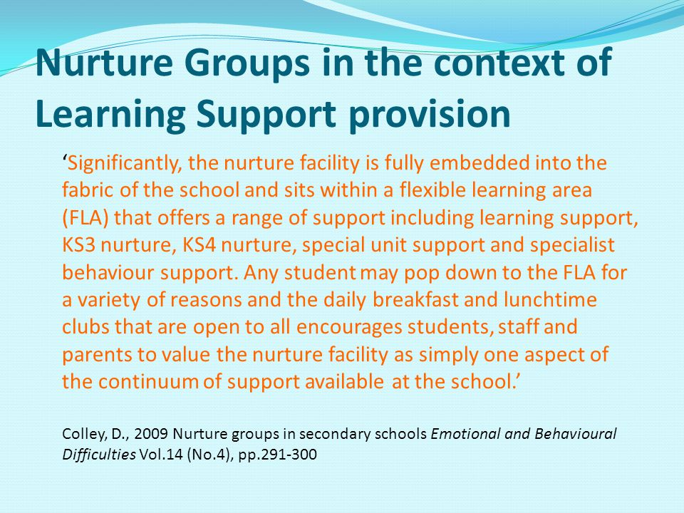 Nurture Groups in the context of Learning Support provision 'Significantly, the nurture facility is fully embedded into the fabric of the school and sits within a flexible learning area (FLA) that offers a range of support including learning support, KS3 nurture, KS4 nurture, special unit support and specialist behaviour support.