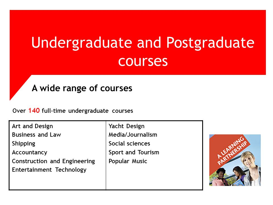 Over 140 full-time undergraduate courses Undergraduate and Postgraduate courses A wide range of courses Art and Design Business and Law Shipping Accountancy Construction and Engineering Entertainment Technology Yacht Design Media/Journalism Social sciences Sport and Tourism Popular Music