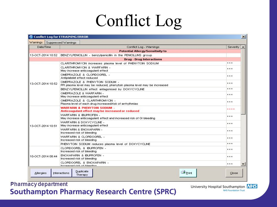 Pharmacy department Conflict Log