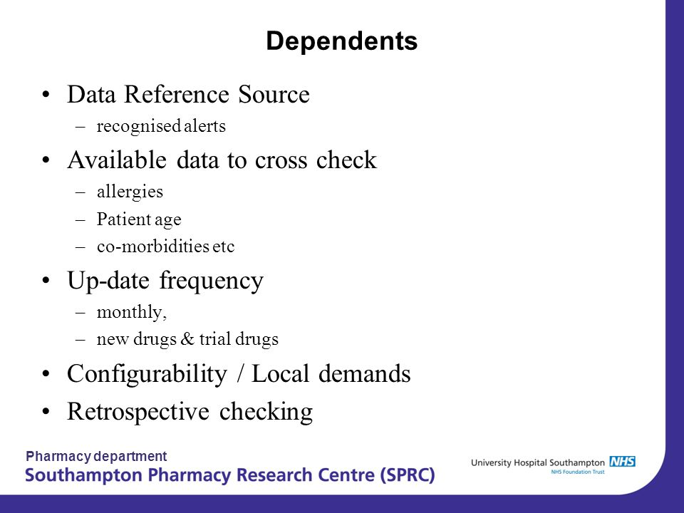 Pharmacy department Dependents Data Reference Source –recognised alerts Available data to cross check –allergies –Patient age –co-morbidities etc Up-d