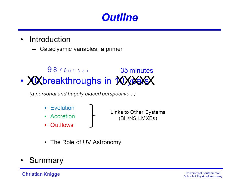 Christian Knigge University of Southampton School of Physics & Astronoy Outline Introduction –Cataclysmic variables: a primer 10 breakthroughs in 10 years (a personal and hugely biased perspective...) Evolution Accretion Outflows The Role of UV Astronomy Summary 35 minutes 9 8 7 6 5 4 3 2 1 XX XXXXX Links to Other Systems (BH/NS LMXBs)